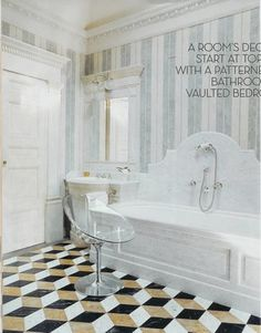 Robust-patterned marble flooring makes a dynamic foil for the pastel-striped Venetian stucco walls, Carrara marble tub surround, and Kartell Eros swivel chair in the master bathroom of a Milan home updated by Studio Peregalli. Architectural Digest, Beautiful Bathrooms, Modern Bathroom, Italian Bathroom, Marble Bathtub, Marble Floor, Carrara Marble, Next Bathroom, Arquitetura