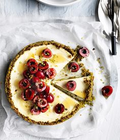 The luscious silky texture of this tangy cheesecake makes it irresistible – the fact it's gluten-free and doesn't have any refined sugar is a bonus.
