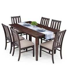 Six Seater Dining Table Sets: Buy 6 Seater Dining Table Sets Online Wooden Dining Table Designs, Dinning Table Design, Wooden Dining Set, Wooden Dining Room Chairs, Dining Room Table Decor, 8 Seater Dining Table, Buy Dining Table, Marble Top Dining Table, Unique Dining Tables