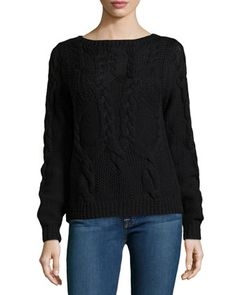 Long-Sleeve Cable-Knit Wool Sweater, Black  by Halston Heritage at Neiman Marcus.
