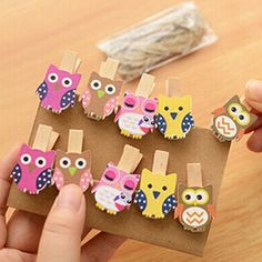 10pcs/pack Mini owl Wooden Photo Paper Peg Pin Clothes pin Craft Postcard Clips Home Crafts Decoration With Rope