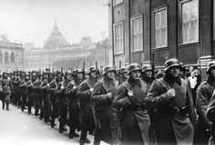 German soldiers marching through Copenhagen, after the occupation of Denmark in the course of Operation Weseruebung, to participate at a muster of the German troops on the occasion of Hitler's birthday. Occupation of Denmark, 1940.
