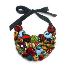 Button Bib Necklace by Christie Brown for My Asho Market Diy Ankara Necklace, African Necklace, African Jewelry, Diy Necklace, Necklace Designs, Necklaces, African Accessories, Fashion Accessories, Fashion Jewelry