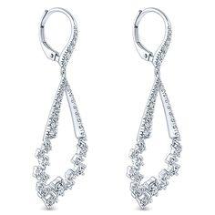18k White Gold Waterfall Drop Earrings
