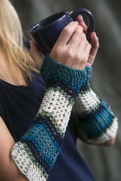 Lovely, long and lacy, these fingerless gloves have a lot of staying power and make use of both an elastic yarn and technical shaping. Self-striping yarn adds a visual punch without any extra effort!