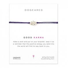 Dogeared Make a Wish Good Karma Happy Lotus Bracelet. Make a wish and put on your bracelet. Wear it as a reminder that the positive energy you send into the world will find its way back to you. Handmade Sterling Silver, Sterling Silver Bracelets, Karma, Hugs And Kisses Xo, Lotus, Daisy London, Make A Wish, How To Make, Elephant Bracelet
