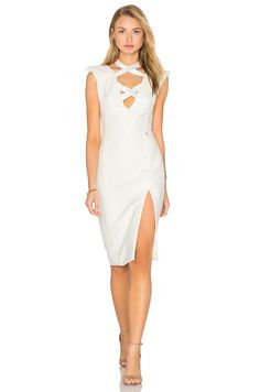 Bronx and Banco Shanghai Midi Dress in White