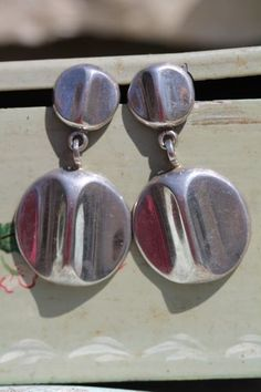 Vintage Mexican Taxco Sterling Silver Modernistic Medallion Pierced Earrings