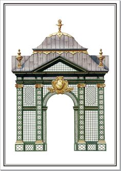 Treillage Pavilion at the Schwarzenberg Palace' Vienna | Architectural Watercolors