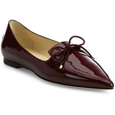 Jimmy Choo Women's Genna Patent Leather Point Toe Flats (6.593.900 IDR) ❤ liked on Polyvore featuring shoes, flats, bordeaux, patent flats, pointed toe flat shoes, shiny shoes, slip on shoes and pointed toe shoes