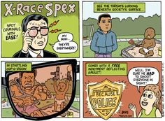 Cartoon: X-Race Specs. Too close to truth to be funny.