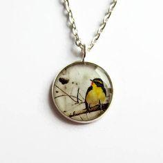 Items similar to Bird Necklace - Yellow Bird Picture Pendant - Bird Jewelry - Bird Lover Gift - Dainty Necklace - Bird Watcher Gift - Gift for Her on Etsy Bird Necklace, Pendant Necklace, Bird Pictures, Bright Yellow, Zebras, Annie, Giraffe, Resin, Cute Animals