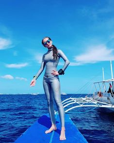 Image may contain: 1 person, standing, ocean, sky, outdoor and water Womens Wetsuit, Second Skin, Diving, Ocean, Suits, Sexy, Latex, Swimwear, Outdoor