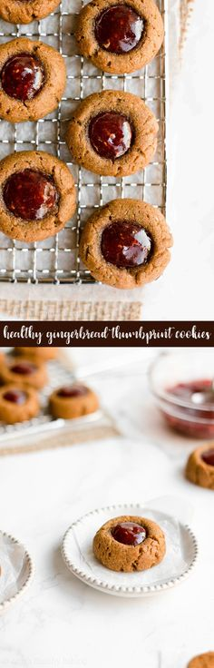 Healthy Gingerbread Thumbprint Cookies Soft, Chewy and Only 42 Calories Perfect For Christmas and Holiday Parties Easy Gluten Free Gingerbread Thumbprint Cookies Recipe. Healthy Cookie Recipes, Healthy Cookies, Healthy Sweets, Healthy Baking, Baking Recipes, Bar Recipes, Light Recipes, Clean Recipes, Healthy Snacks