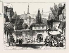 A Street in Constantinople, with the Fountain and Mosque of Sultan Achmet-1851
