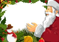 Transparent PNG Christmas Photo Frame with Santa Claus