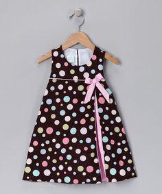 Brown Polka Dot Corduroy Dress - Toddler & Girls
