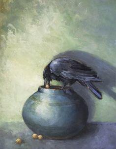 The Treasure Collector - Crow on Jar oil painting - Deb Kirkeeide, painting by artist Deb Kirkeeide
