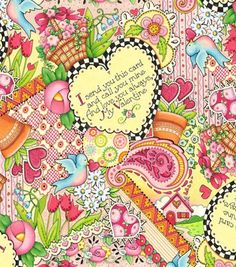 Mary Engelbreit Pretty Valentine Cotton Fabric by The Half Yard | eBay