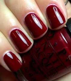 OPI – GOT THE BLUES FOR RED This is a TRUE blood red! It is darker than the picture makes it seem. In the dark it almost looks brown or dark marroon. This bold red polish has a beautiful blue…