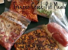 5 Slow Cooker Freezer Meal  Beef and mushroom,black bean and corn salsa chicken, taco soup,chicken broccoli Alfredo and BBQ pulled pork recipes