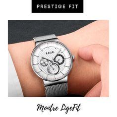 Montre LigeFit Quartz pour Homme.  Très beau désign, stylée et tendance!  En acier inoxydable, résistante à l'eau.  Prix imbattable !  Mode Homme / Bijou / Tendance / Accessoires / Montre Luxe / Design Breitling, Watches, Design, Luxury Watches, Lobster Clasp, Stainless Steel, Men Styles, Beauty, Locs