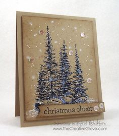 Blog has tutorial...Pines and Rocks Christmas Card #stampscapes #scenic #papercrafts