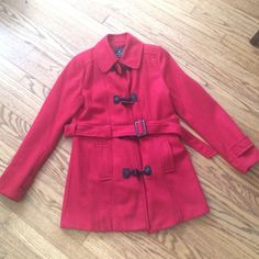 Red Coat Red coat in great condition. Belt can be detached. Jackets & Coats