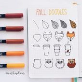 Masha easy fall doodle tutorial in my bullet journal bujo bulletjournal tutorial masha plansig Fall doodles how-to.These beautiful fall/autumn doodles are perfect for your bullet journal, scrap book or even greeting cards.ince it's a day off, I got t Bullet Journal 2019, Bullet Journal Ideas Pages, Bullet Journal Inspiration, Journal Pages, Bullet Journal Banner, Doodle Inspiration, Bullet Journal Lines, Bullet Journal Spending Tracker, Autumn Bullet Journal