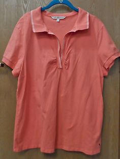 Tommy Hilfiger woman Size 1X Coral Short Sleeve Polo Shirt