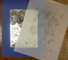 Use tracing paper to start and then retrace to score into foil for illuminated letters.  Kids can then color the tracing paper to mimic stained glass and use gold paint pens and Sharpies to make the illuminated letter. www.artmattersstudio.com Art Matters Studio - Studio Blog #lettering #medieval #kids