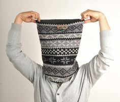 SUPER WARM AND COSY!! mens, womens, unisex Snock™, cowl, snood, neckwarmer, loop, tube, winter scarf in grey and black Christmas, nordic, geometric,