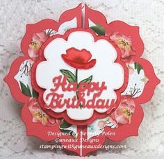 handmade birthday card ... flower shaped gatefold card ... Floral Framelits used to die cut the many layers ... bright red and white with splashes of green ... Stampin' Up!