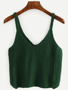 To find out about the Green Strap V Neck Knit Cami Top at SHEIN, part of our latest Tank Tops & Camis ready to shop online today! Crochet Crop Top, Knit Crochet, Crochet Clothes, Diy Clothes, Crochet Summer Tops, Cami Tops, Crochet Designs, Top Pattern, Look Cool