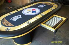 Pittsburgh Steelers logo NFL football custom felt team colors football poker table
