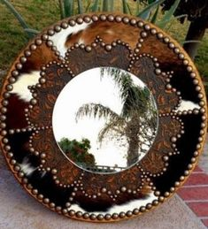 Tooled Leather & Tri Color Cowhide Fancy Western Cowboy Ranch Decor Gilded or Round Wall Mir - Western Decor Rustic Western Decor, Country Decor, Rustic Wood, Western Decorations, Barn Wood, Round Wall Mirror, Round Mirrors, Framed Mirrors, Bathroom Mirrors