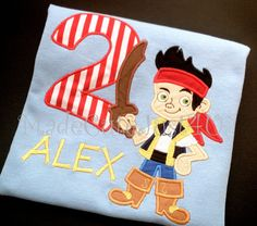 Jake and the Neverland Pirates Themed Personalized Birthday Number Shirt. $20.00, via Etsy. We order our bday shirts from this shop every year, LOVE her work :]