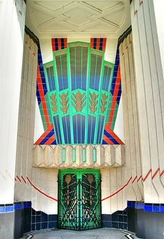 Entrance, Hoover Building, Western Avenue, Perivale, Western London. Designed by  Wallis, Gilbert and Partners, 1933.
