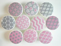 Gray and Pink Pattern Knobs, Wood Drawer Knobs,1 1/2 Inches - Made-to-Order