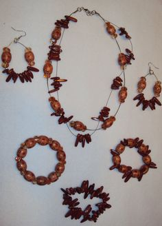 Natural Spice Orange Marble Jewelry Set by Eunise on Etsy, $25.00