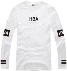 Men's Hood By Air Long Sleeve T Shirts Man HBA Hip Hop 100% Cotton O Neck T…