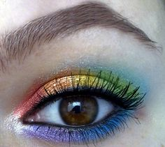 Well-blended rainbow eyeshadow!  Love this idea--could use just half the rainbow on upper lids for a unique day look (or go all out for evening!)