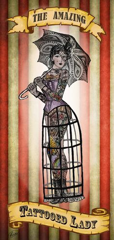 The Amazing Tattooed Lady Fine Art Print by ArtBlonde on Etsy, $10.00
