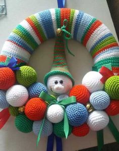 Crochet Patterns Christmas Crochet Christmas Wreath - Repeat Crafter MeHi there 1 you ll need a polystyrene ring mine measures 25 cm in diameter and has a flattened back 2 crochet a cover – Artofit Crochet Christmas Wreath, Crochet Wreath, Holiday Crochet, Christmas Knitting, Crochet Gifts, Crochet Toys, Christmas Crafts, Wreath Crafts, Diy Wreath