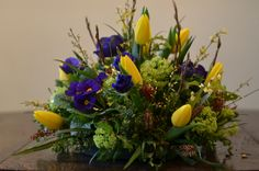 Yellow blue and lime spring posy