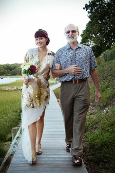 """Just The Two Of Us: 8 Silly, Sweet Stories Of Brides & Their Dads #refinery29  http://www.refinery29.com/2012/06/69402/fathers-day-dad-daughter-wedding-pictures#slide8  Kristin BurnsMarried September 2013 in East Hampton, New York """"As a clinical psychologist by day and garage rock-band musician by night, my father inspired me to work hard and play hard. Whether writing silly songs at home, flying a kite in the park, or driving across country in a blue school bus, there was always a sense of…"""
