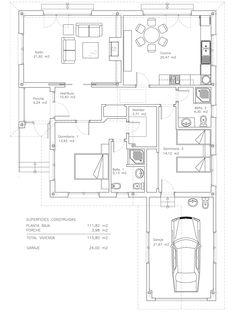 Plano constructivo de vivienda de 140 m2