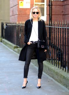 Classic black and white with a long coat twist!