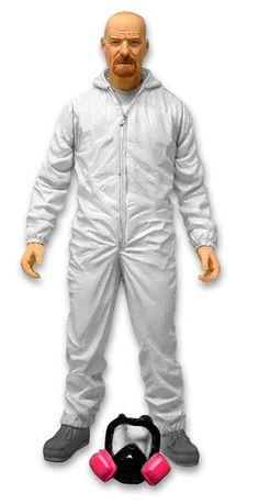 Figura Walter White, Breaking Bad. Mono blanco Hazmat Suite, 15cm Mezco Toys Figura de 15cm del personaje protagonista de la serie Breaking Bad, Walter White, con el mono blanco.