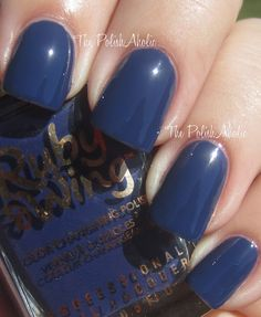Eclipse is a blue creme that depending on if you are out in the sun or not changes from dark blue to a lighter dusty periwinkle blue. This photo is the 'in the sun' version. Ruby Wing brand is made by Color Club.